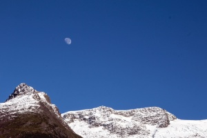 snow, mountain, sky, moon, rocks, cold, winter