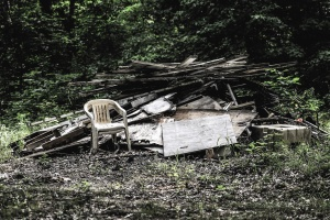 garbage, chair, plank, grass, bush, nature, forest