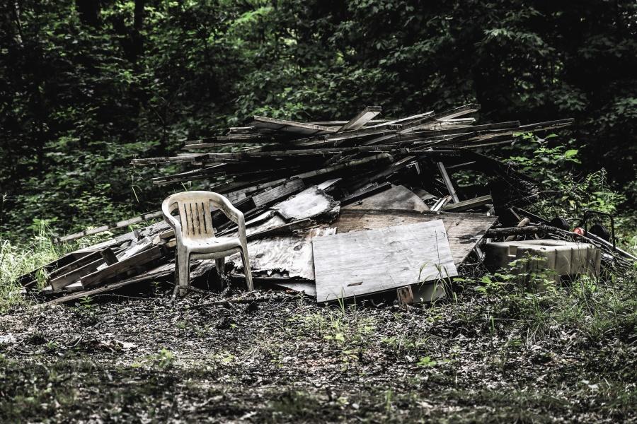 odpadky, židle, prkno, tráva, bush, příroda, Les