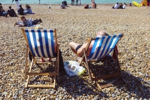 cestovný ruch, lehátka, kameň, pláž, more, dovolenka, leto