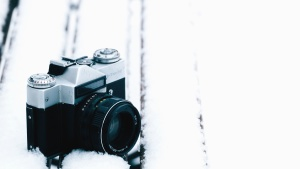 photo camera, lens, snow, winter, cold, retro