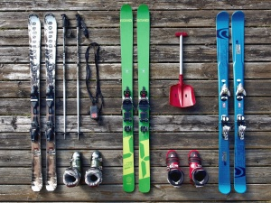 skis, boot, shovel, stick, wood, winter, snow