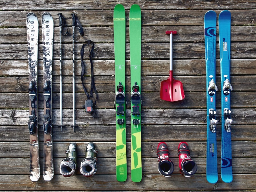 lyže, boot, lopata, hůl, dřevo, zima, sníh