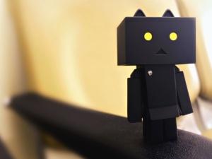 Robot, juguete, modelo, papel, cartón