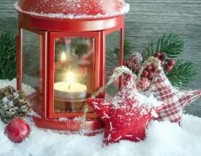 svijeće, božićne, ukras, snijeg, zvijezda, šišarka