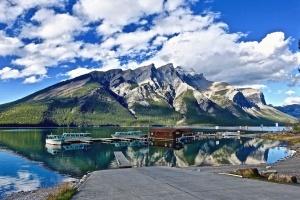 lake, boat, raft, water, mountain, sky