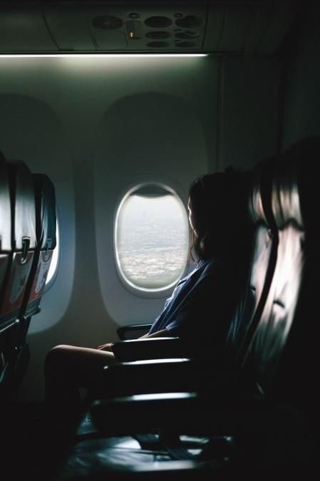 κορίτσι, επιβατών, αεροσκαφών, κάθισμα, παράθυρο, πόλη, πτήσεων, επιβατών, τουριστικά