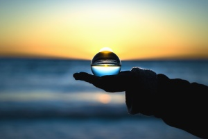 sphere, transparent, water, sea, sunset, air, arm, sky