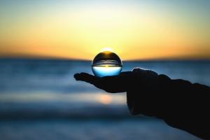 bol, transparant, water, zee, zonsondergang, lucht, arm, hemel