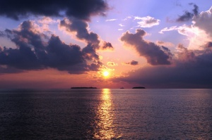 sun, reflections, island, cloud, sea, water, landscape