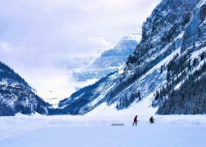 snow, mountain, rocks, fog, people, hockey, sport, ice skating
