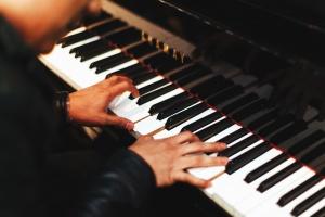 zongora, zenész, művész, hang, kéz, zongorista
