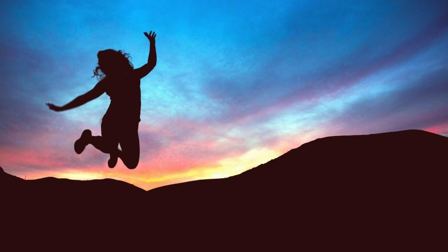 girl, silhouette, mountain, jump, sunset, twilight