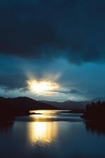zon, lucht, wolken, zonsopgang, strand, zee, landschap, schemering, horizon, water, bos, reflectie