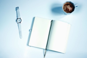 wristwatch, notes, coffee, cup, ceramic, white