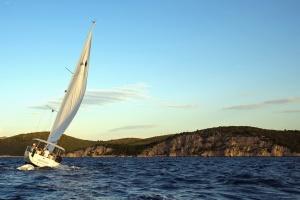 moře, vodu, obloha, krajina, léto, plachetnice, plachty, loď, cestování