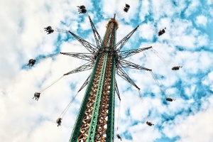 Construction, métal, parc d'attraction, métal, carrousel