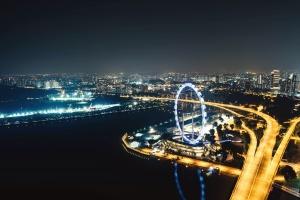 city, sky, architecture, urban, building, bridge, travel, landscape, wheel, amusement park