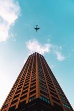 sky, city, architecture, building, tower, travel, airplane, urban, landscape