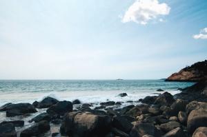 ocean, sea, beach, coast, water, shore, landscape, wall