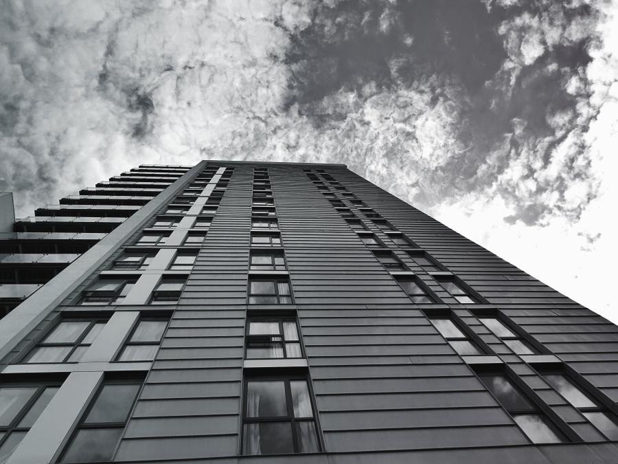하늘, 비즈니스, 건축, 현대, 창, 클라우드