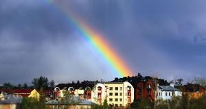 Arcobaleno, arco, casa, architettura, costruzione, pioggia, nuvoloso