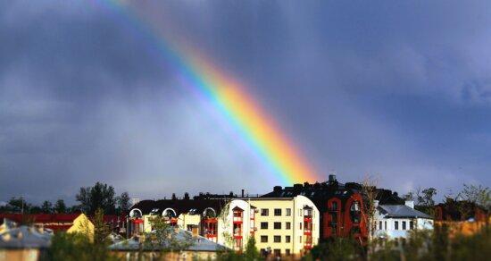 rainbow, bow, house, architecture, building, rain, cloudy