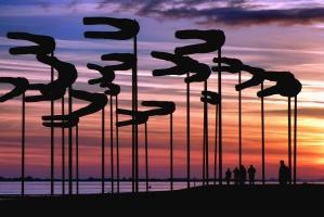 sky, sunset, man, pillar, silhouette, people, sea