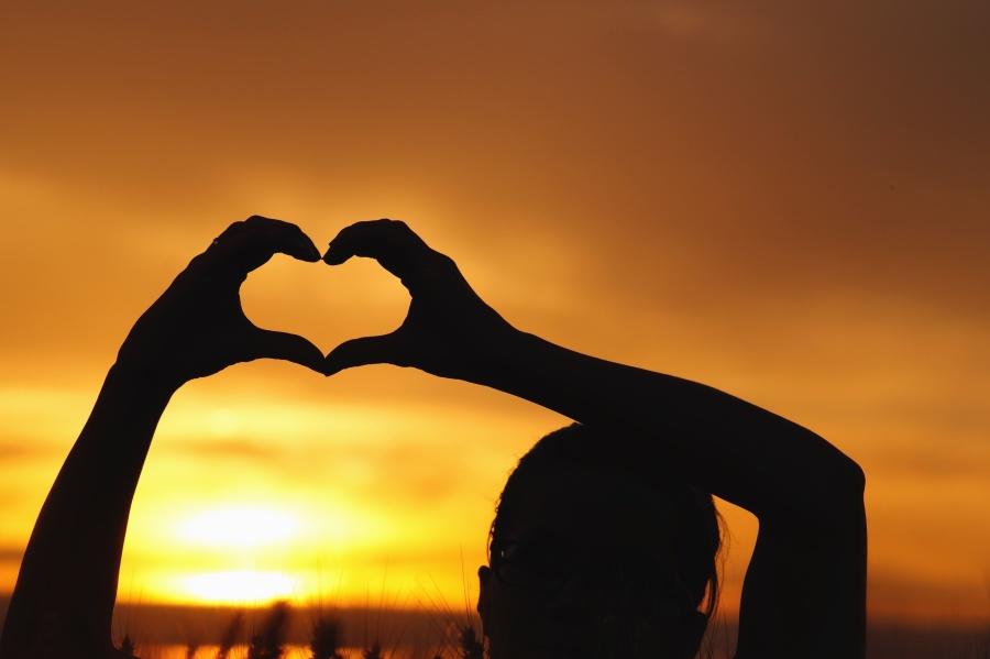 силует, хора, жена, ръка, пръст, сърце, любов