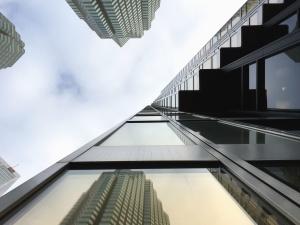 arhitektura, nebo, urbane, moderne, odraz, poslovni, staklo, futuristički