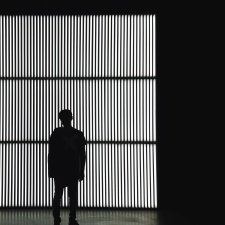 man, man, grid, wall, silhouette