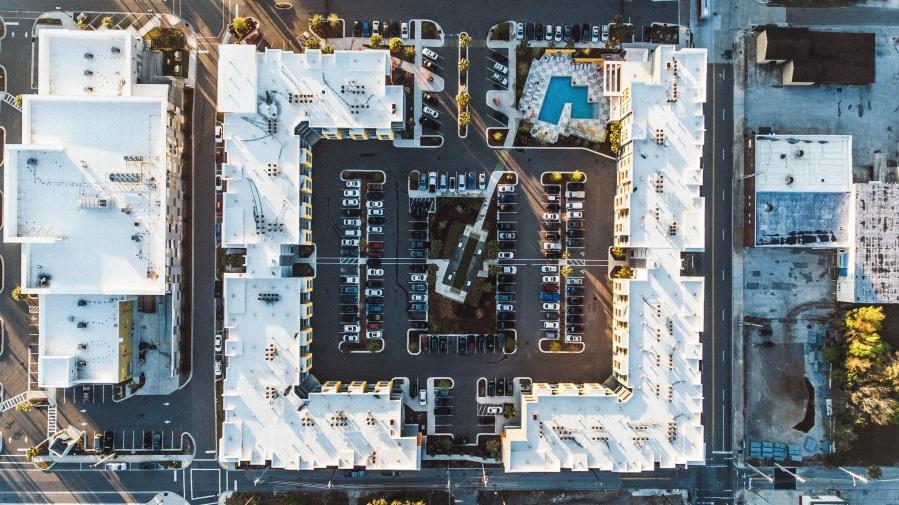zgrada, parkiralište, trgovački centar, bazen, ulica, cesta, automobila