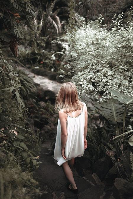 girl, dress, road, stream, leaves, bush
