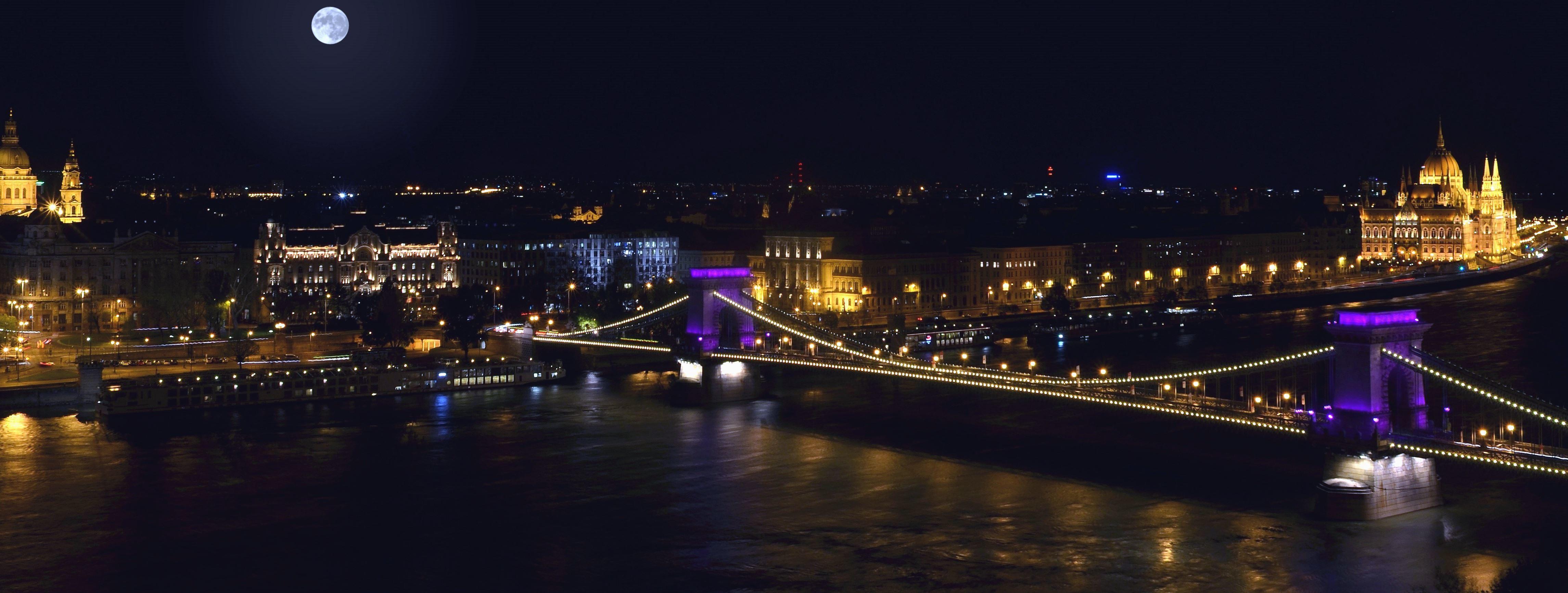 Kostenlose Bild: Brücke, fluss, wasser, nacht, licht, reflexion ...