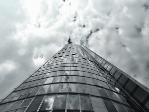 épület homlokzat, építészet, üveg, elmélkedés, ég, felhő