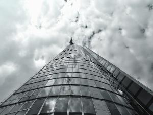 budov, fasády, architektura, sklo, reflexe, obloha, mrak