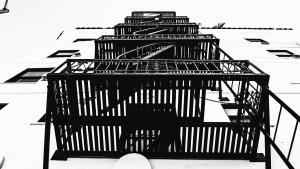 metalne, građevinske, zgrada, stepenica, vatra, prozor