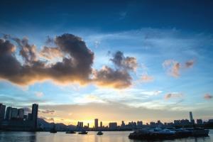 sky, cloud, river, boat, city, building, sunrise