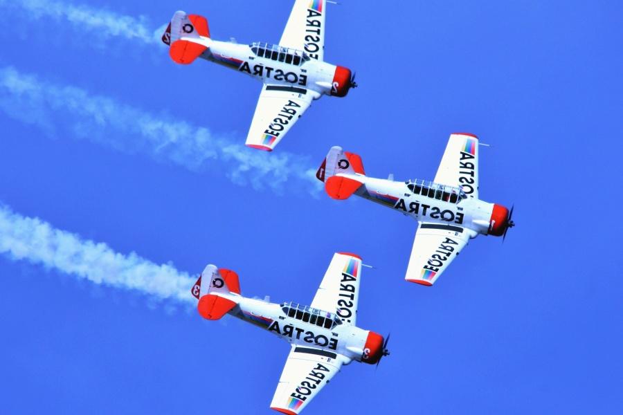 Avion, spectacle aérien, vol, acrobaties, fumée, formation