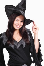 girl, smiling, hat, costume, witch