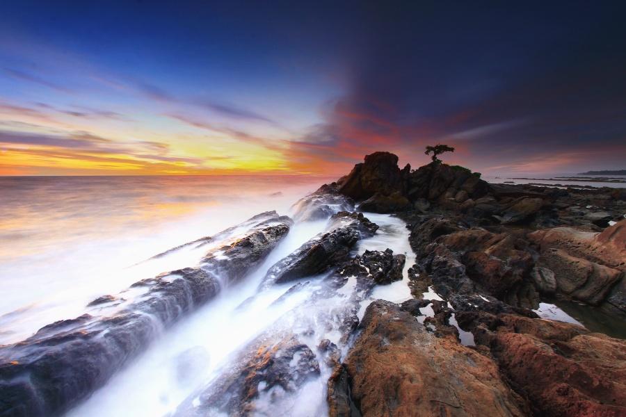 sahil, günbatımı, gökyüzü, kayalar, alacakaranlıkta, okyanus