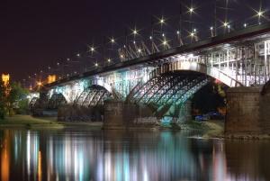 bridge, arch, pillar, river, night, light, reflection, transport