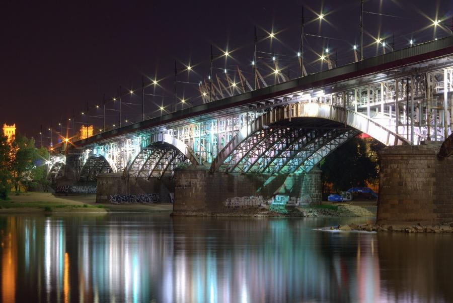 bro, arch, søjle, floden, nat, lys, refleksion, transport