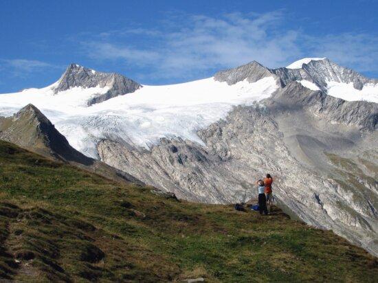 man, woman, snow, mountain, grass, sky, backpack
