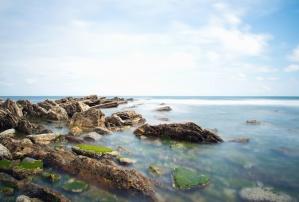Deniz, kaya, su, gökyüzü, sahil