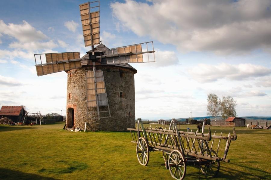 windmill, buildings, wagon, architecture, village, grass, cloud