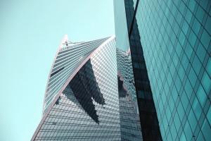 建筑, 玻璃, 现代, 门面, 反射, 建筑学