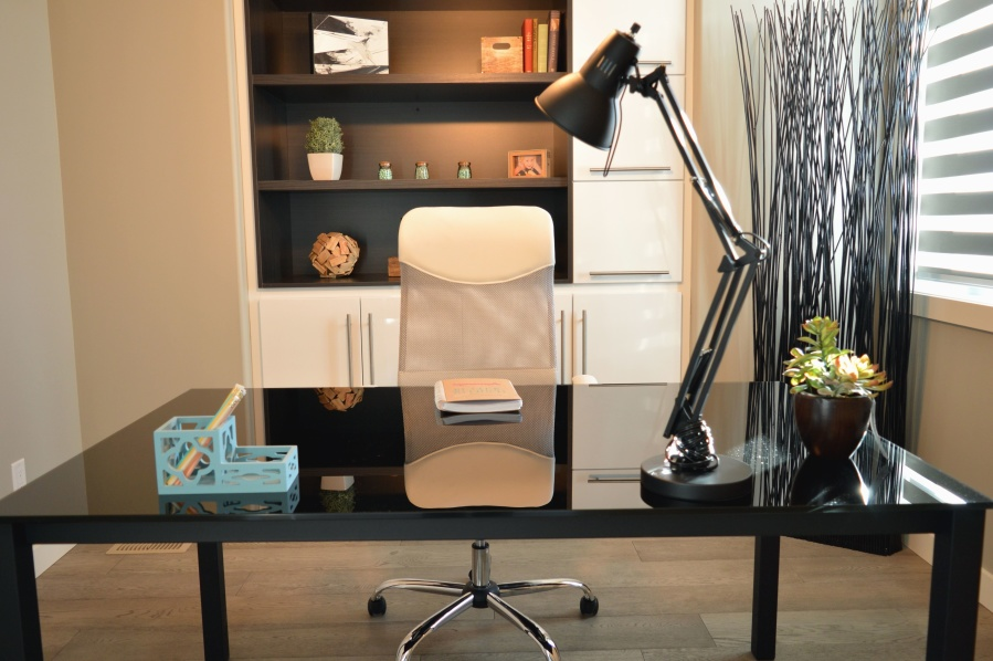 Office, лампа, бюро, гардероб, вазон, завод, книга, стілець