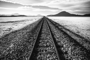 desert, rails, stone, mountain, transportation, metal, steel