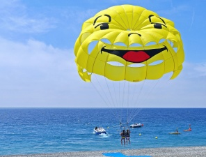 parachute, sport, sea, water, fun, speed boat, rope, people